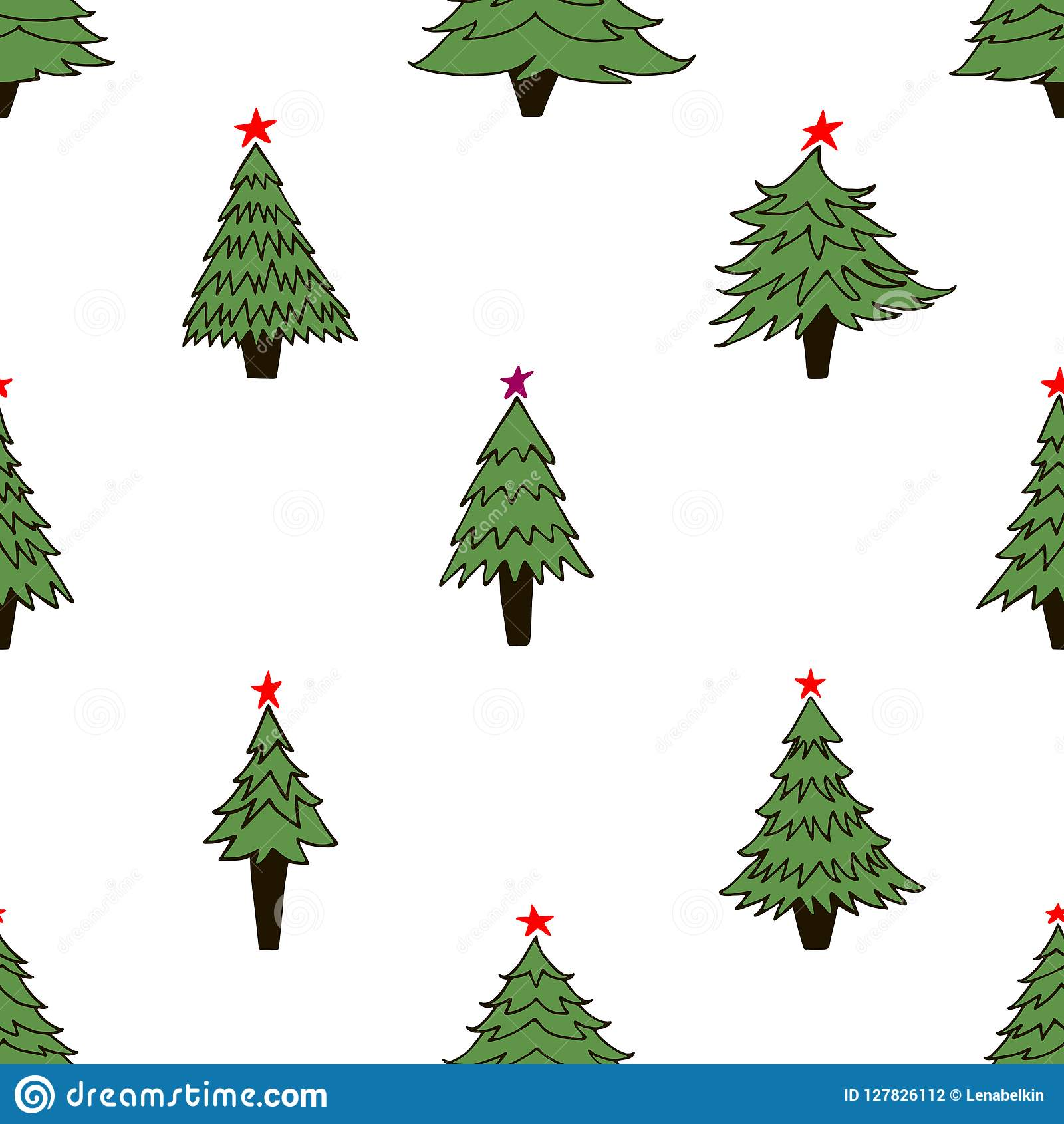 Seamless Pattern With Christmas Trees On White Background Stock ...