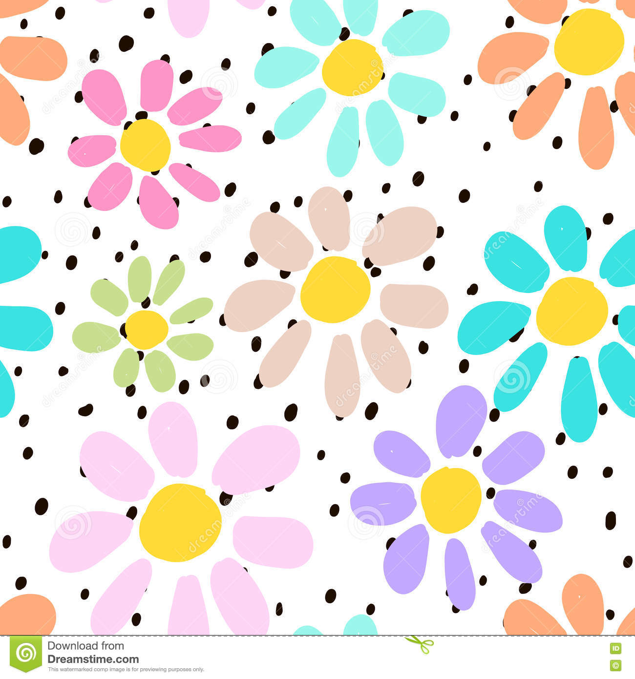 Hand drawn seamless pattern with colorful unusual flowers on polka dots background. Perfectly look on fabric, textile, etc