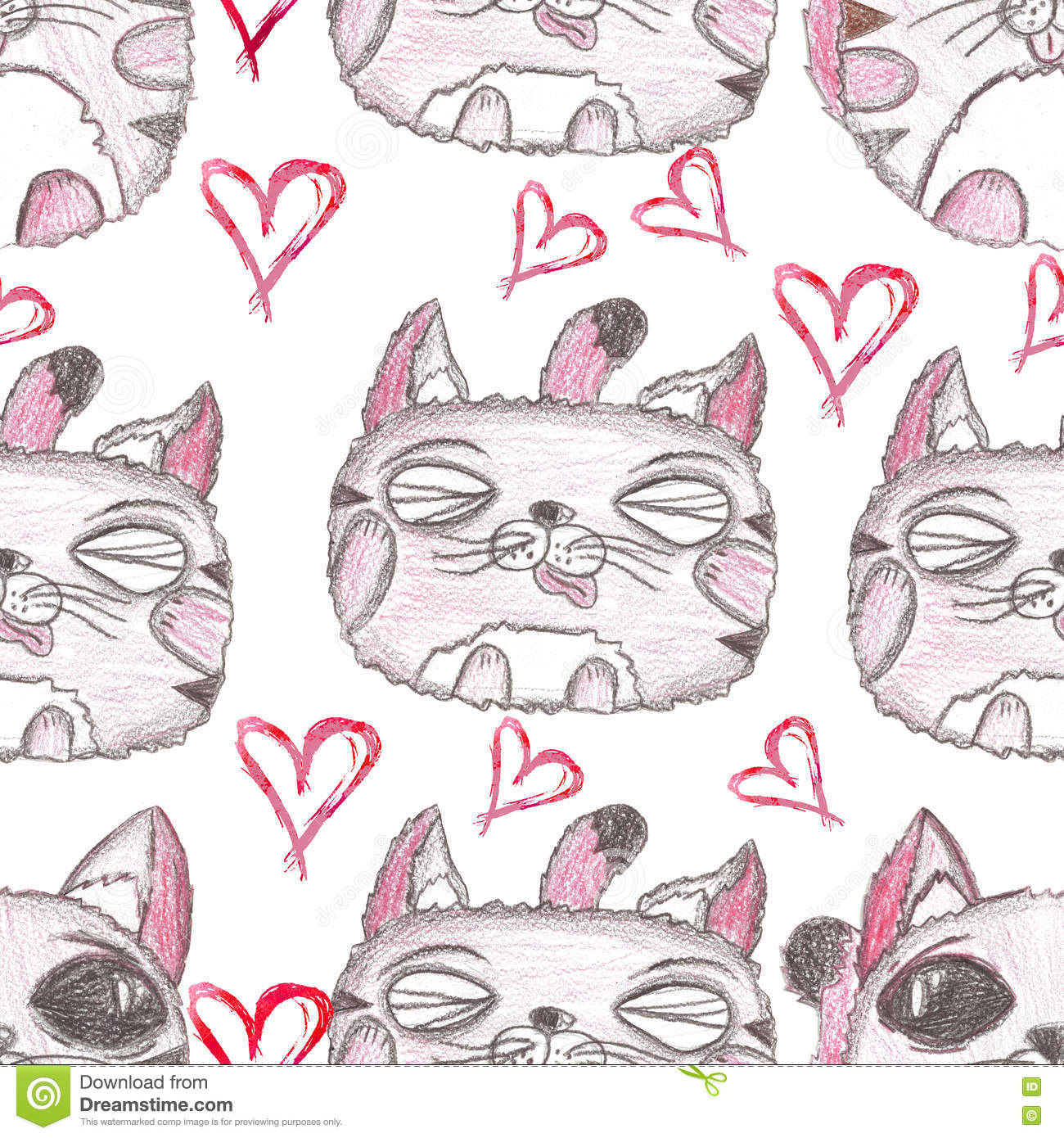 Hand Drawn Seamless Pattern Cute Kittens Stock