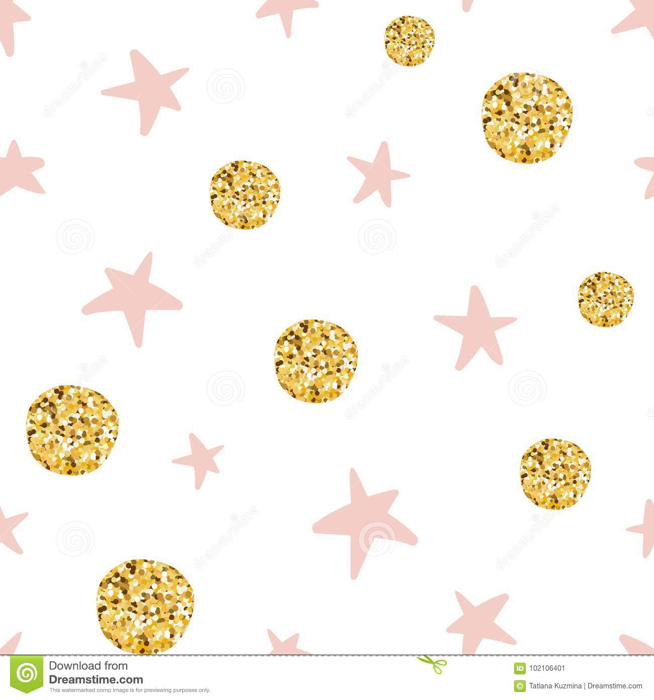 Hand Drawn Seamless Pattern Decoreted Gold Balls Pink Stars For Christmas Wallpaper Or Baby Shower Stock Vector Illustration Of Girl Backdrop 102106401