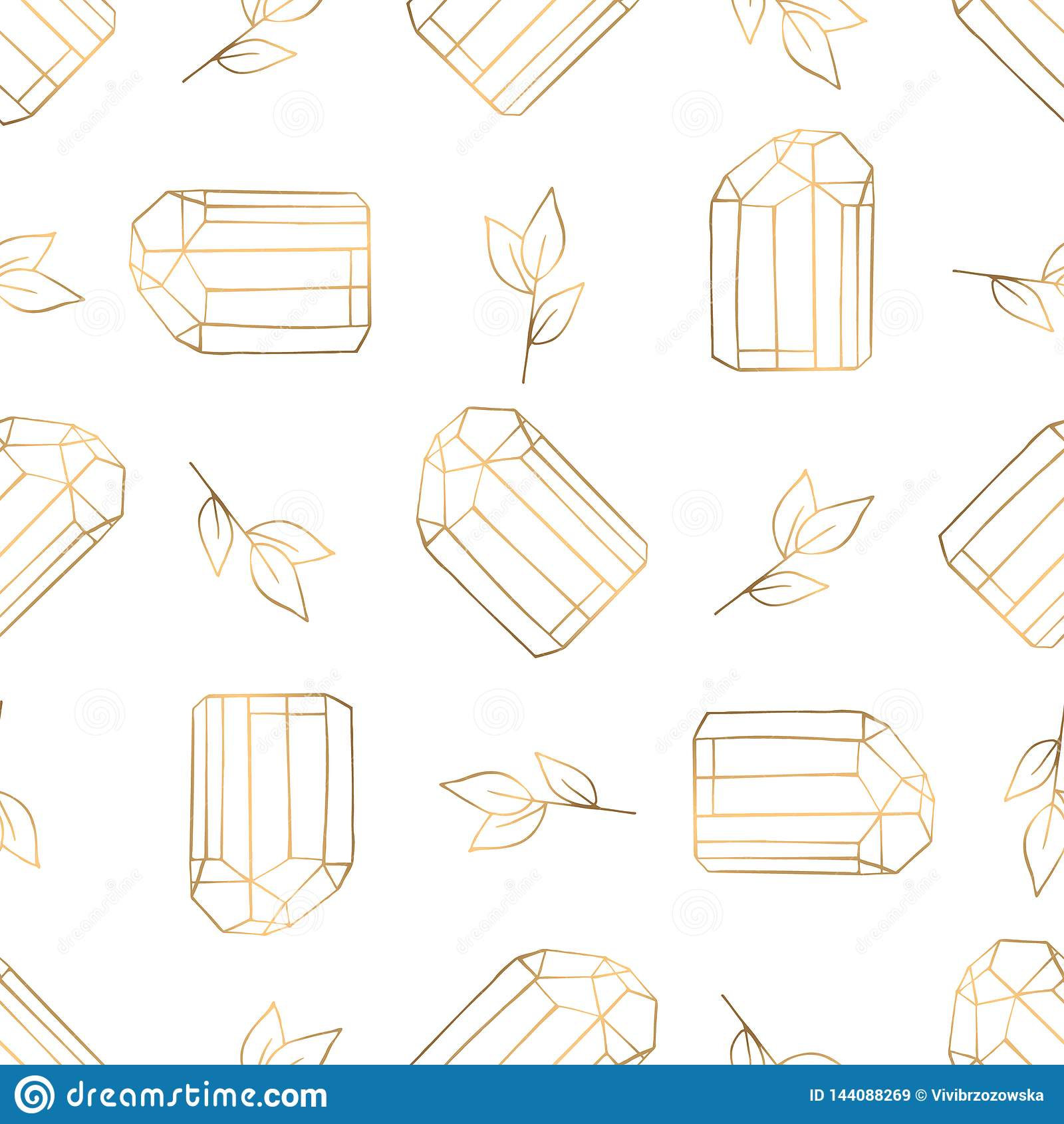 Hand drawn seamless pattern with diamonds and leaves