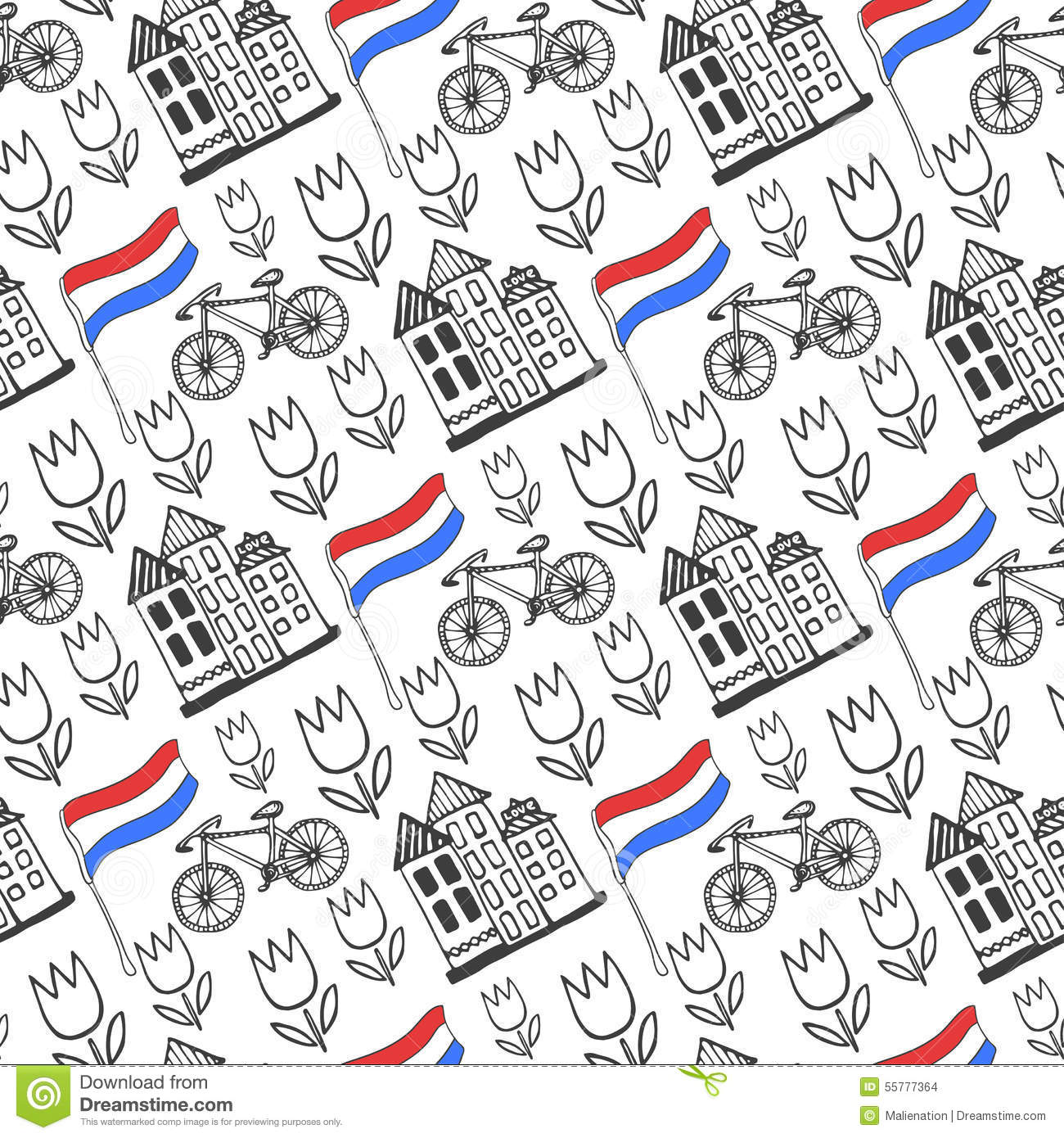 Hand drawn seamless pattern with holland city elements for Design agency amsterdam