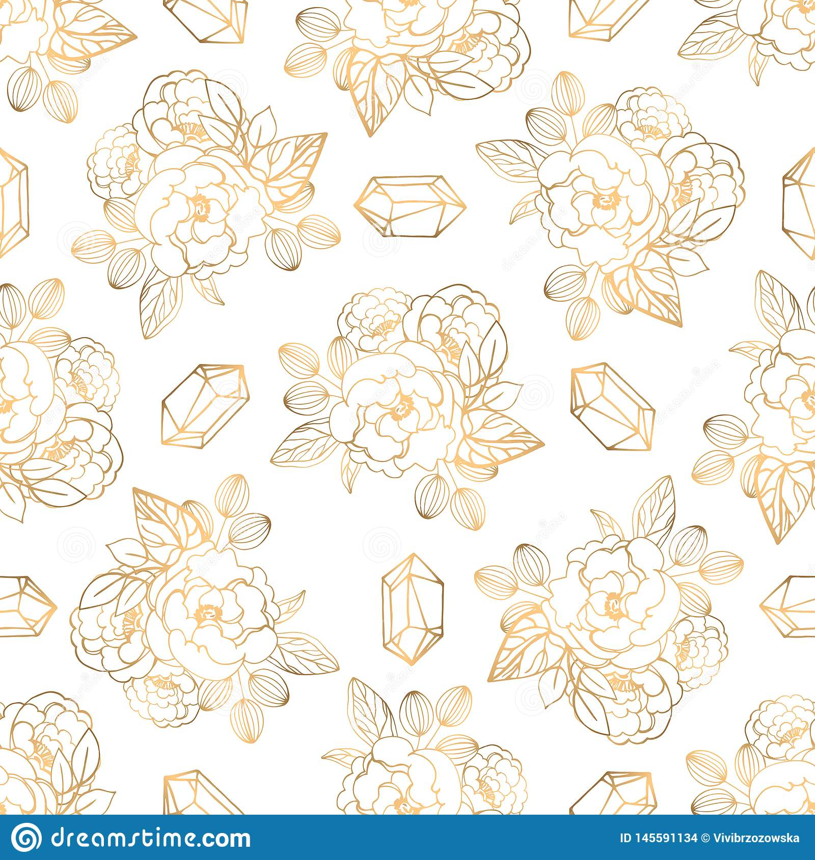 Hand drawn seamless pattern with jewerly and floral elements