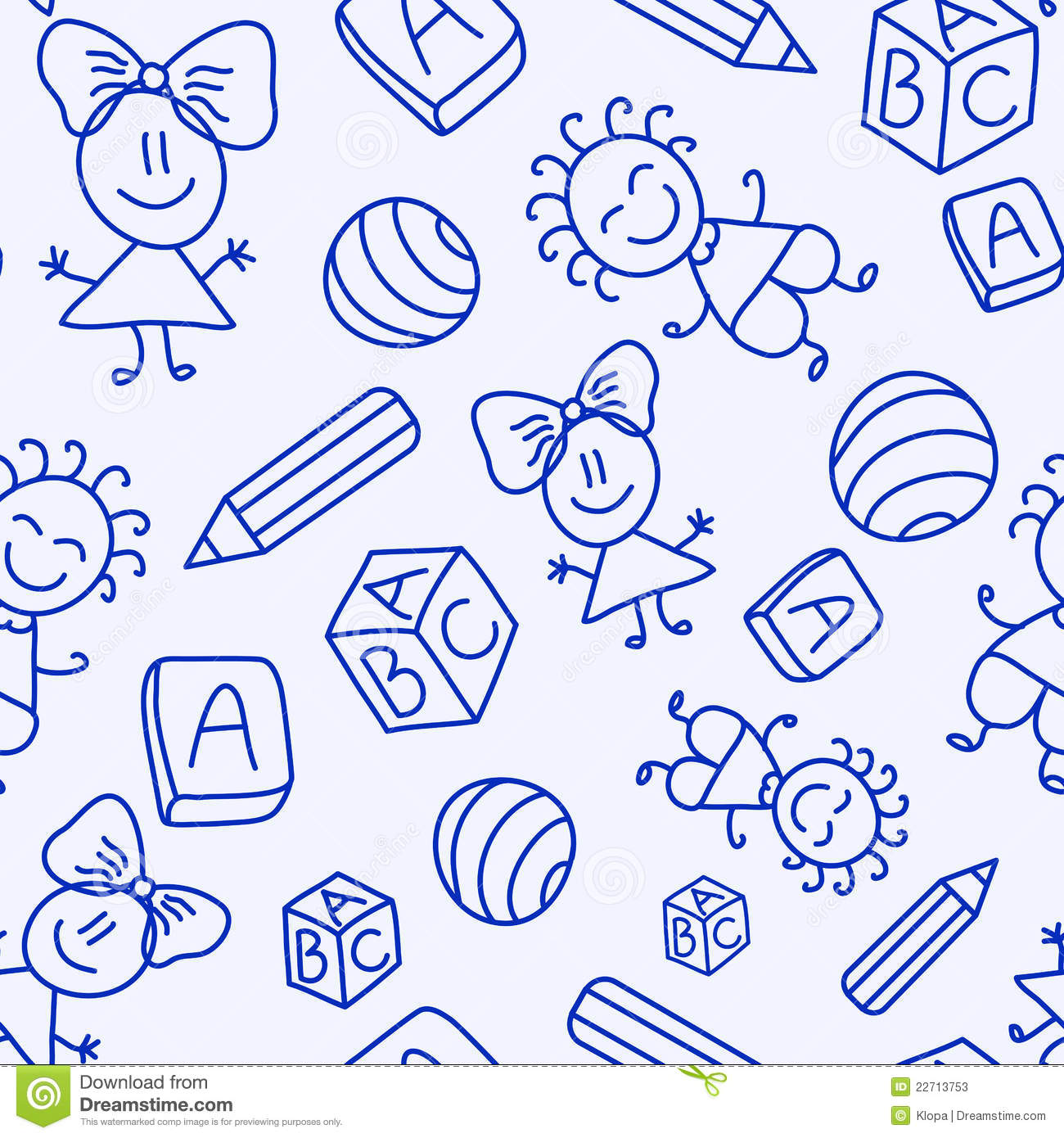 Hand drawn seamless pattern with kids, books and pencils. Illustration ...
