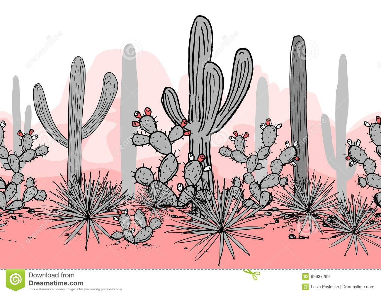 Hand drawn seamless pattern with mountains, saguaro, blue agave, and prickly pear. Latin American background. Mexican
