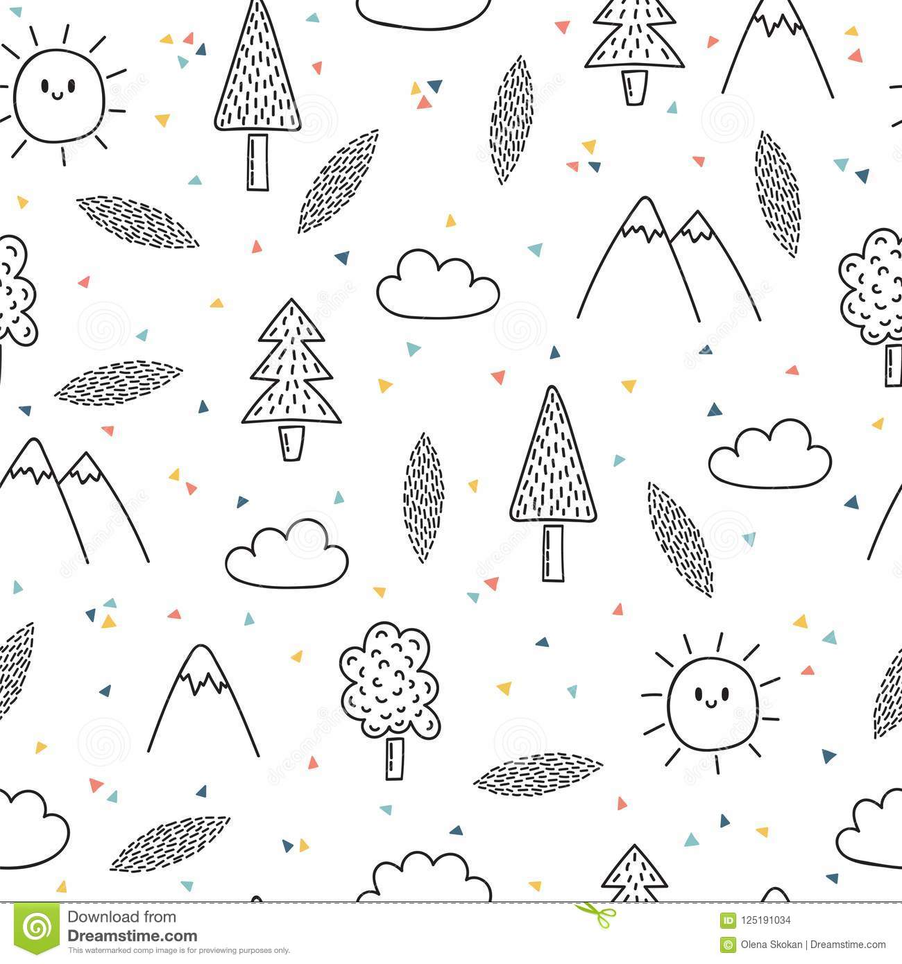 Hand drawn seamless pattern with trees and mountains creative ethnic scandinavian woodland background abstract geometric art print vector illustration