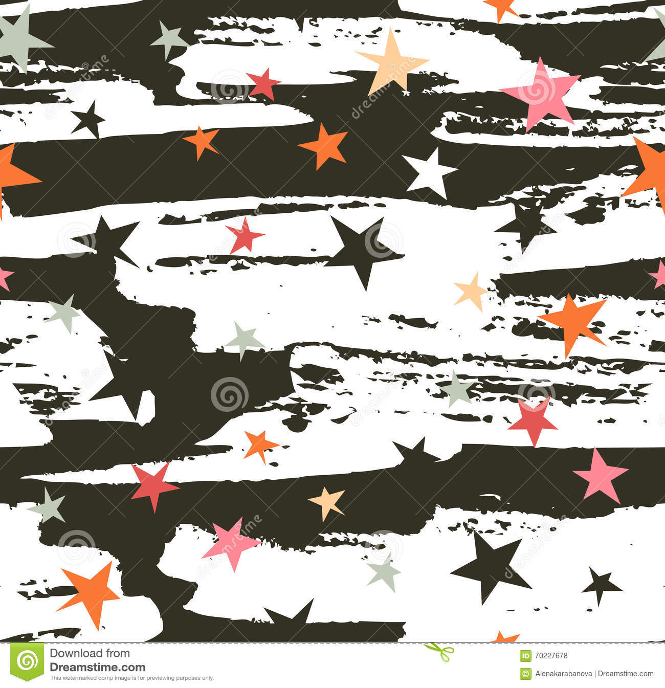 Hand drawn seamless pattern. Vector hipster background stripe design with stars on the night sky.