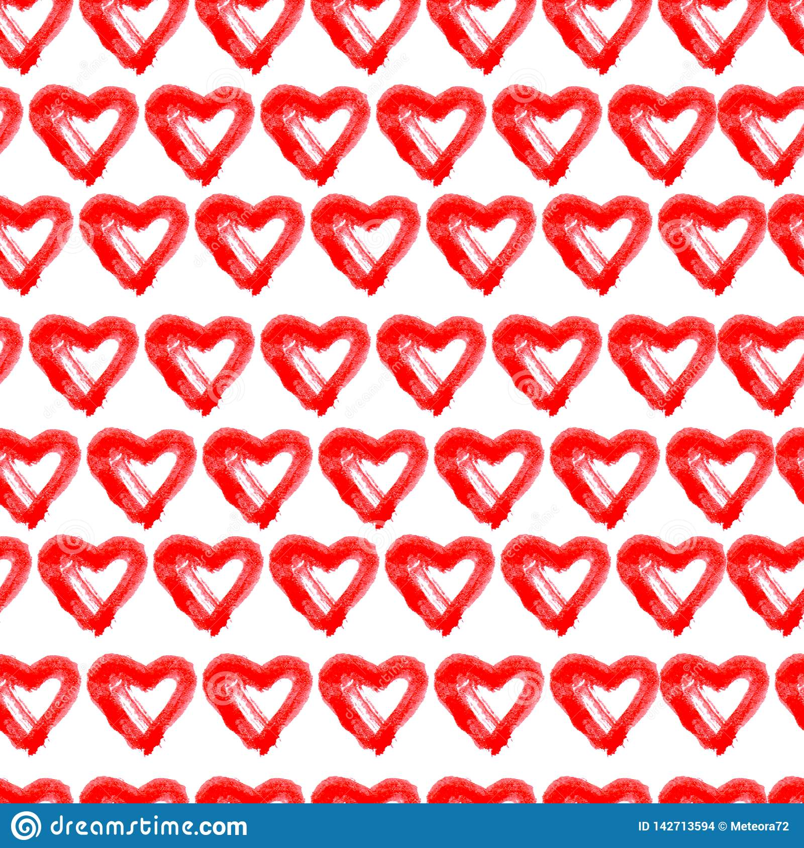 Hand drawn seamless red hearts background