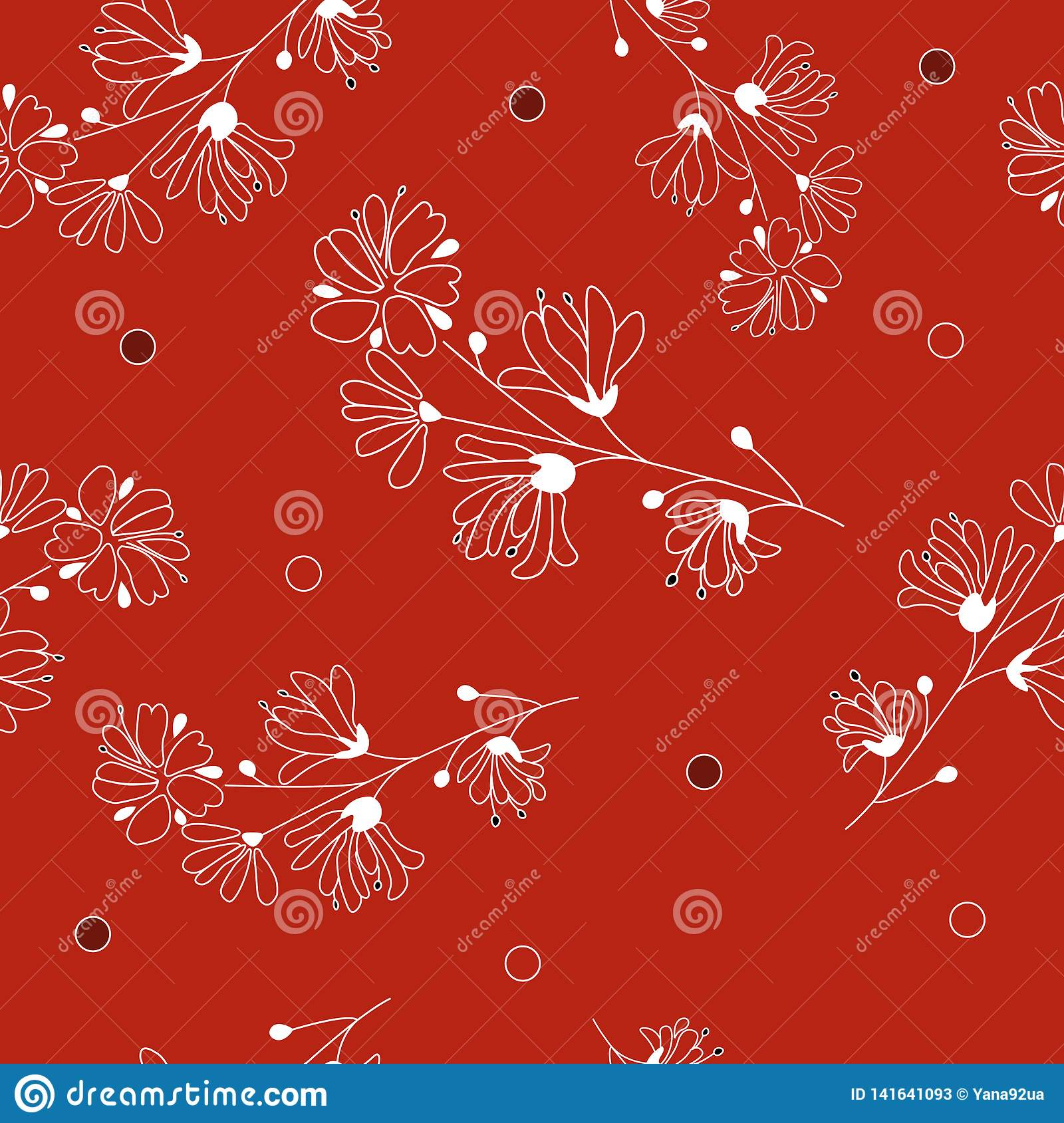 Hand drawn seamless vector pattern with white flowers. Red floral background.