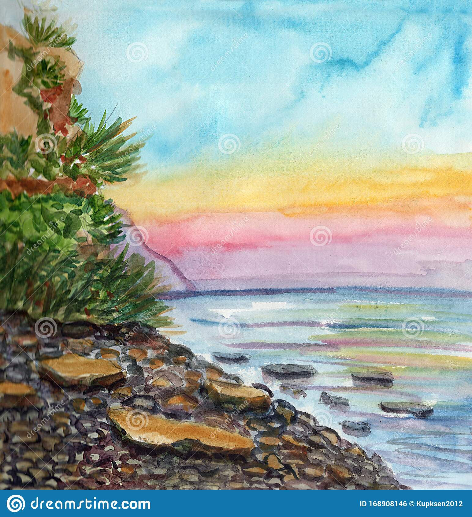 Hand Drawn Seascape Watercolor Painting Landscape With Rocks And Green Plants Sketch Style Summer Drawing Blue Yellow And Pin Stock Illustration Illustration Of Hand Ocean 168908146