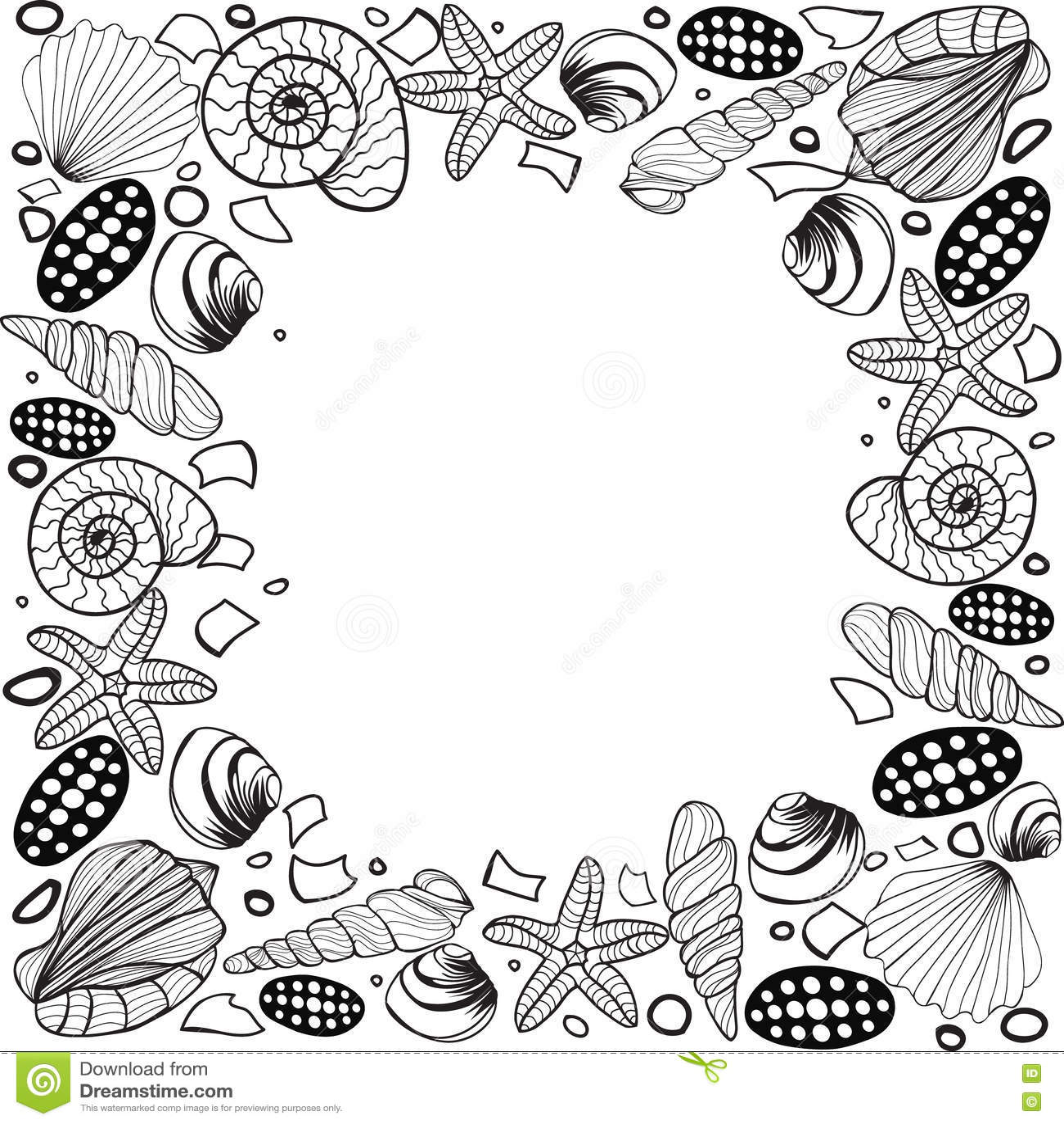 hand drawn seashell border frame vector stock vector image 72328965