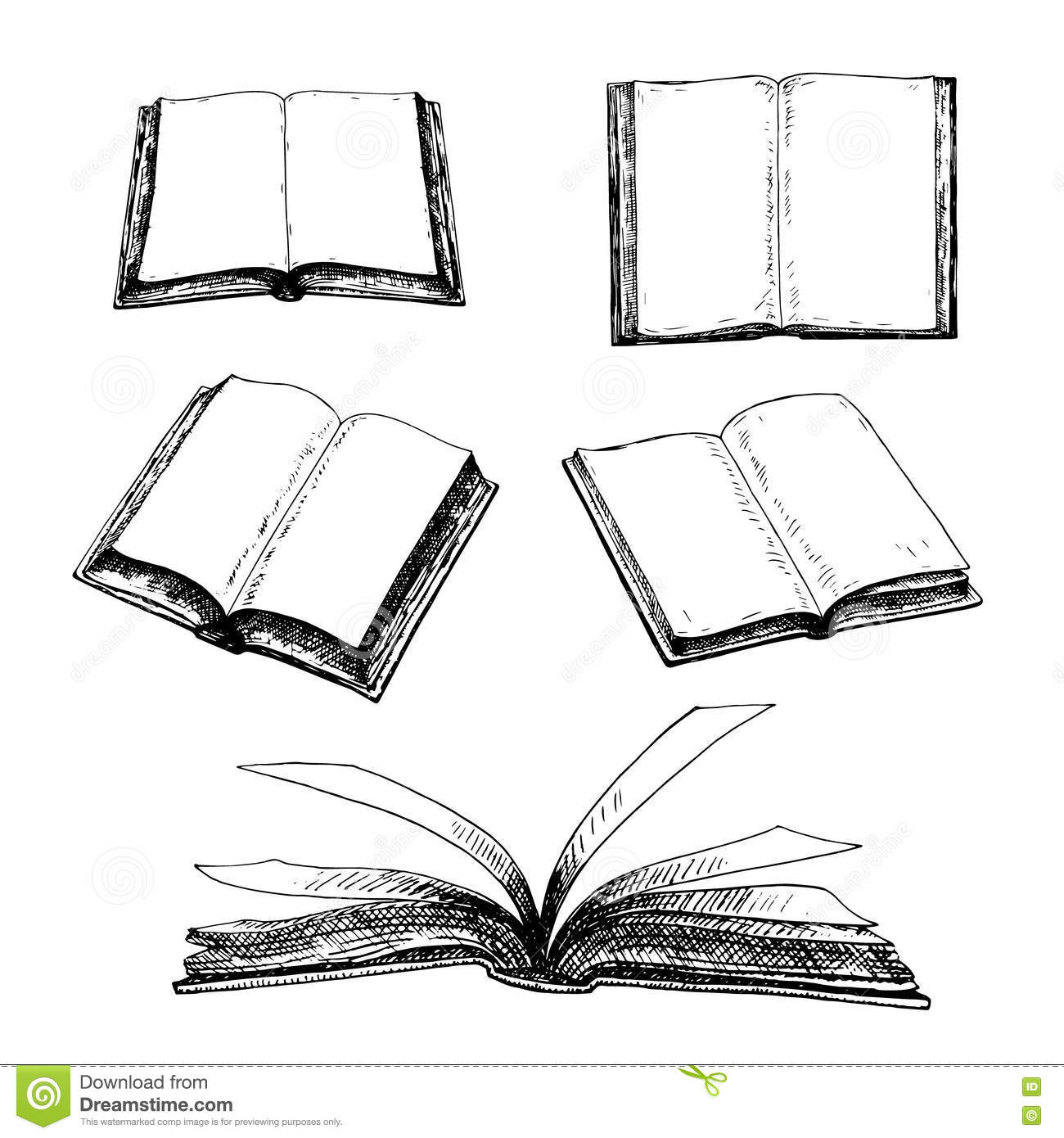 Drawing Lines With Core Graphics : Hand drawn set of books stock vector illustration