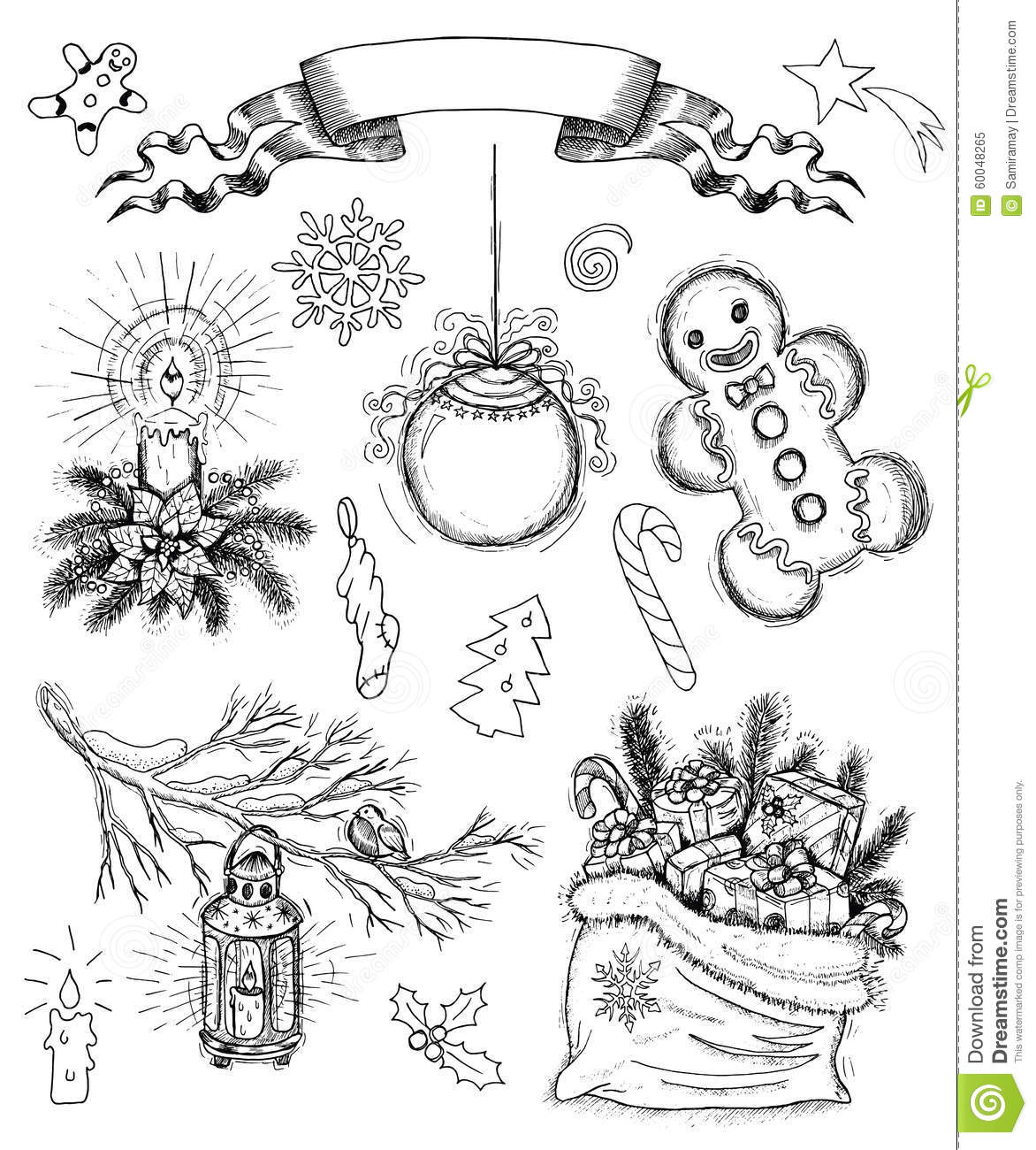 Hand Drawn Set With Christmas Objects And Banner Stock Vector