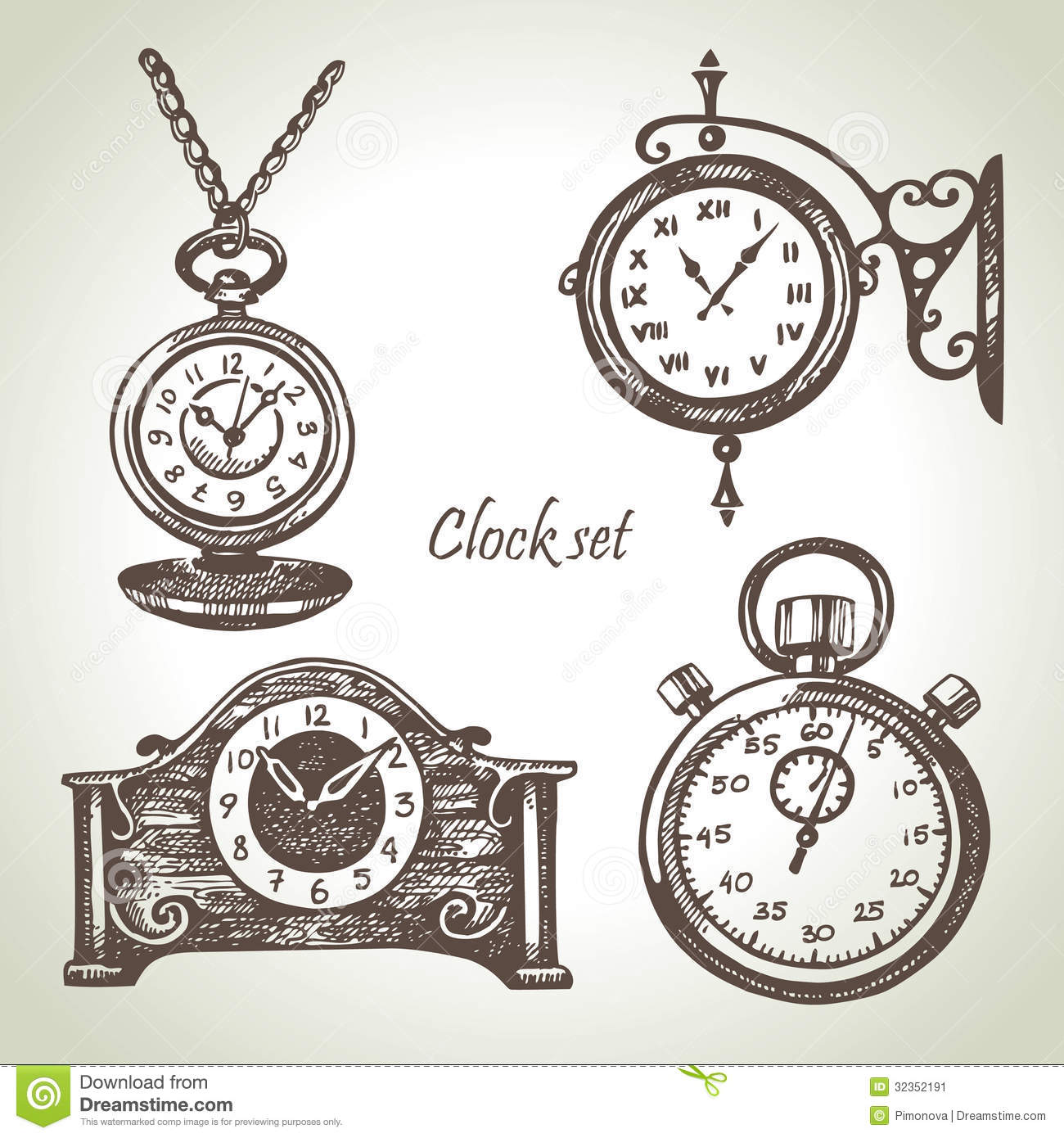 hand drawn set of clocks and watches stock vector image
