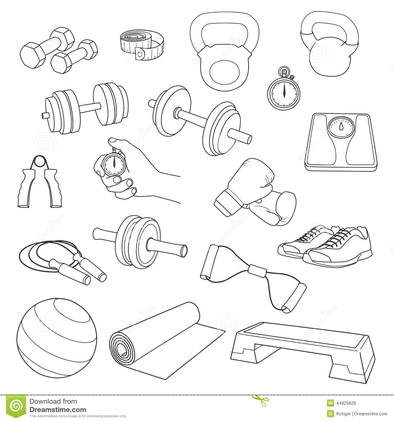Hand Drawn Set Of Fitness Accessories. Dumbbells, Stock