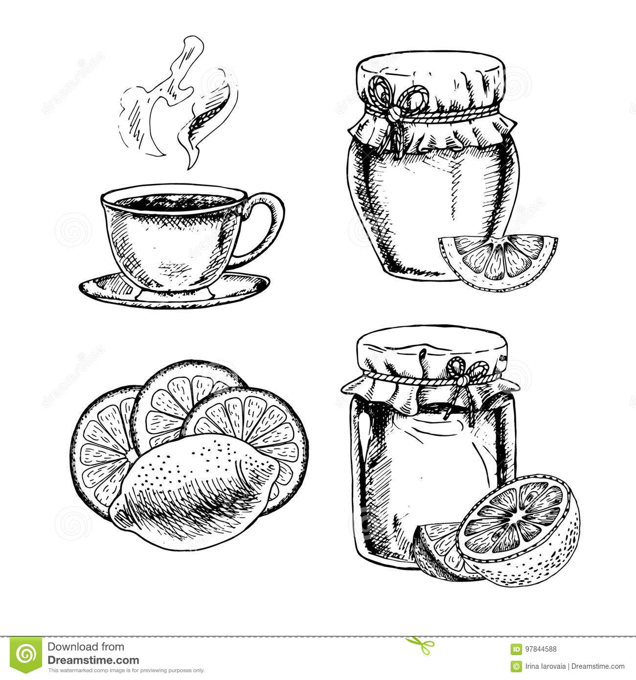 hand drawn set of honey lemon and tea vector sketch stock vector illustration of lemon doodle 97844588 https www dreamstime com stock illustration hand drawn set honey lemon tea vector sketch retro isolated sketches vintage collection linear graphic design pieces black image97844588