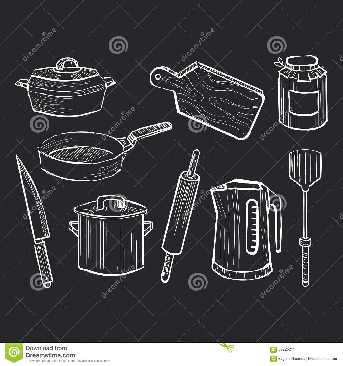 Hand drawn set of kitchen utensils on a chalkboard stock for Art cuisine evolution 10 piece cooking set