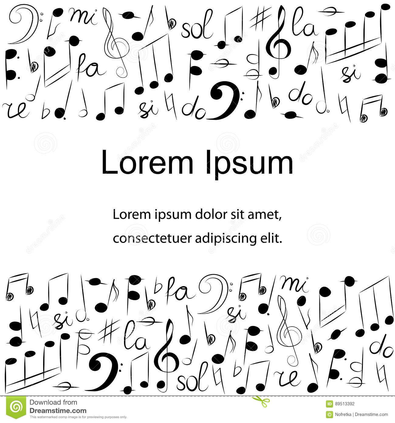 Hand drawn set of music symbols doodle treble clef bass clef hand drawn set of music symbols doodle treble clef bass clef notes and lyre template with place for text in center biocorpaavc Gallery