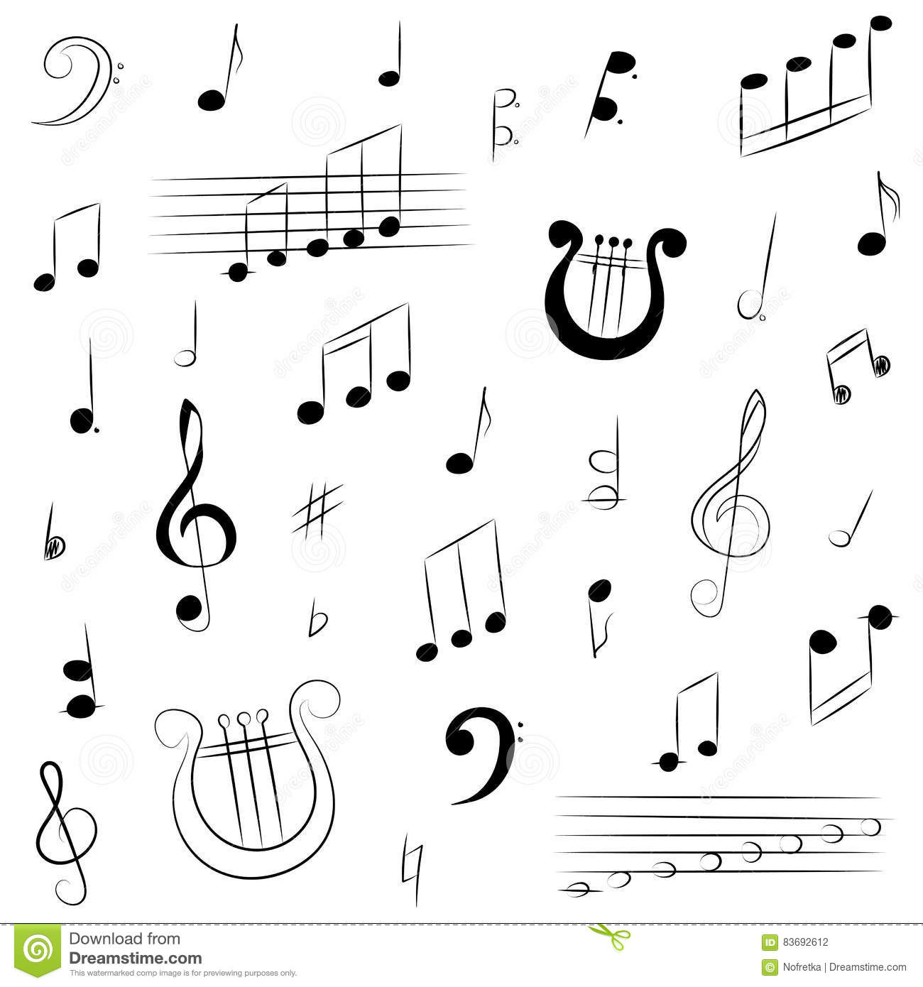 Hand Drawn Set Of Music Symbols Doodle Treble Clef Bass Clef