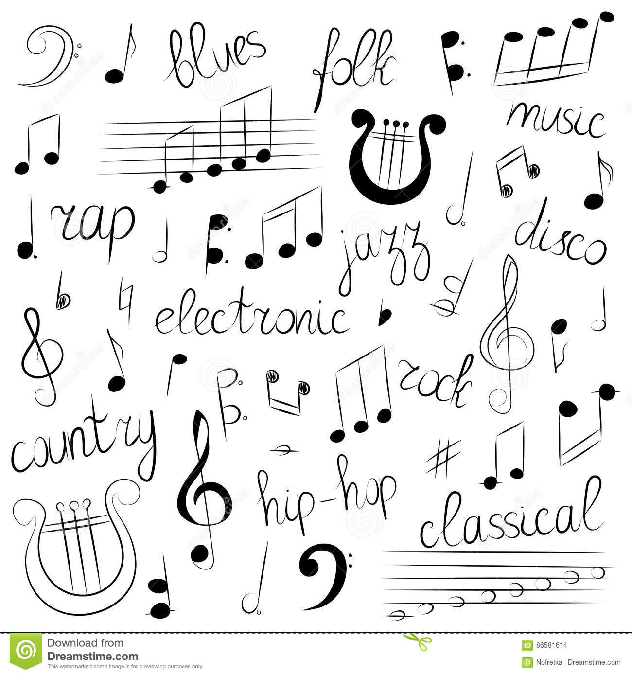 Hand drawn set of music symbols and styles doodle treble clef hand drawn set of music symbols and styles doodle treble clef bass clef notes and lyre lettering of blues electronic jazz buycottarizona Gallery