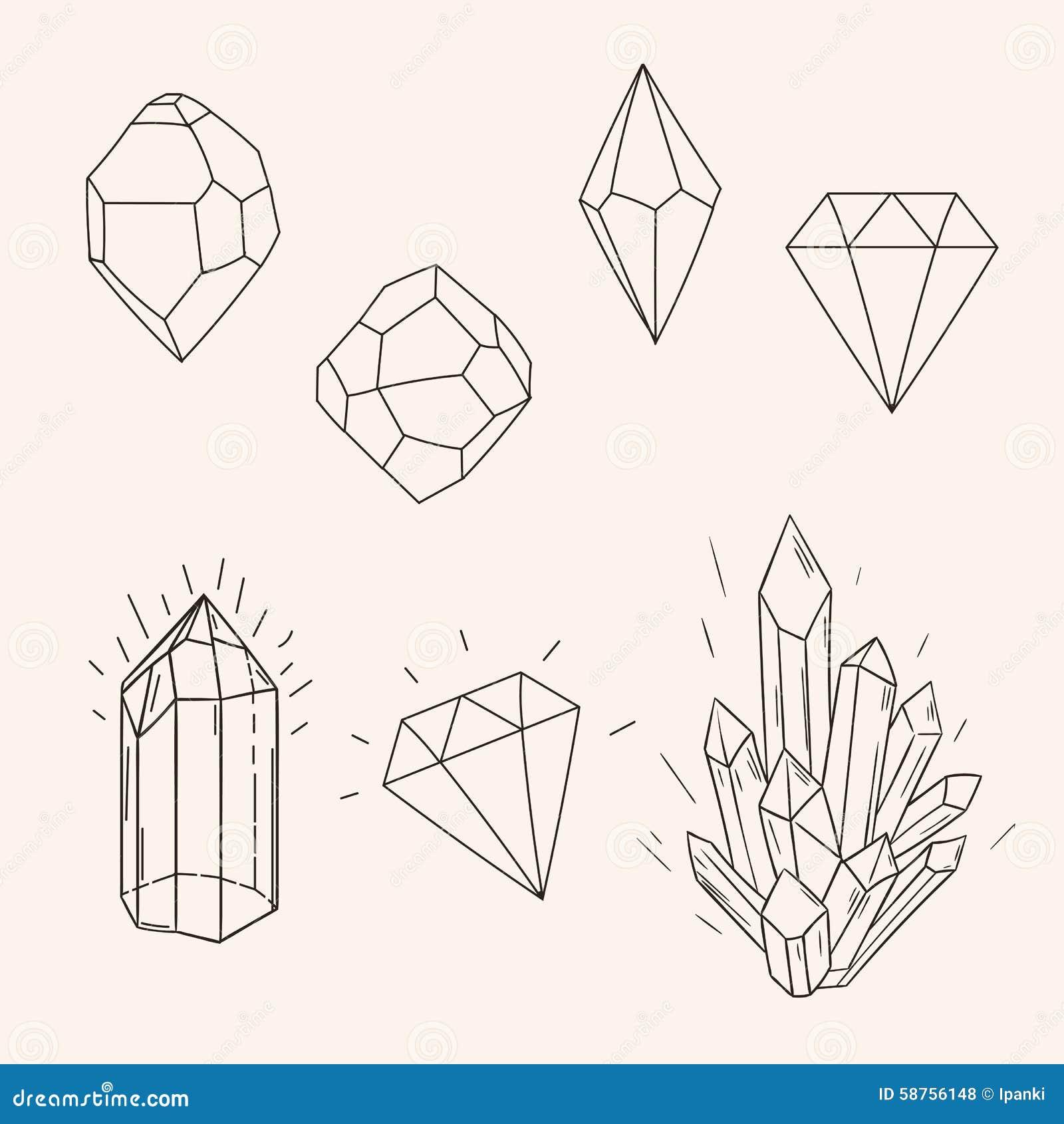 Line Art Vector Design : Hand drawn set sketch crystal diamond and polygonal figure