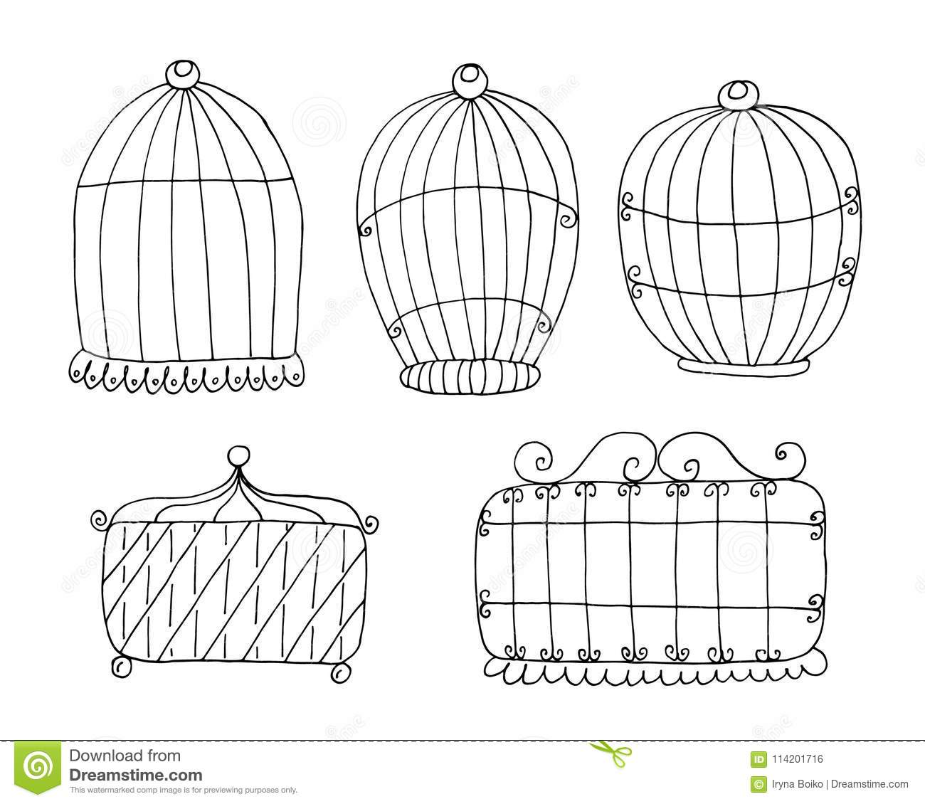 hand drawn set with vintage bird cage vector print stock vector