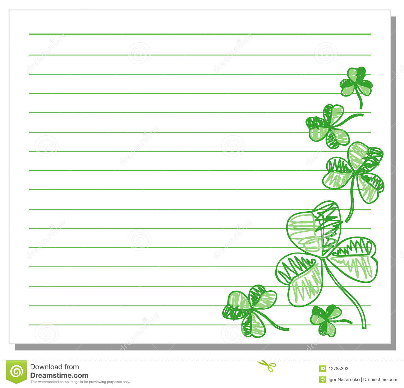 Hand Drawn Shamrock On White Note Paper Stock Photos - Image: 12785303