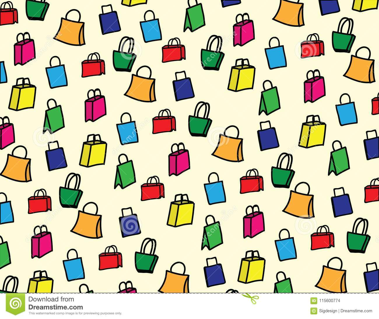 hand drawn shopping bag pattern background stock vector