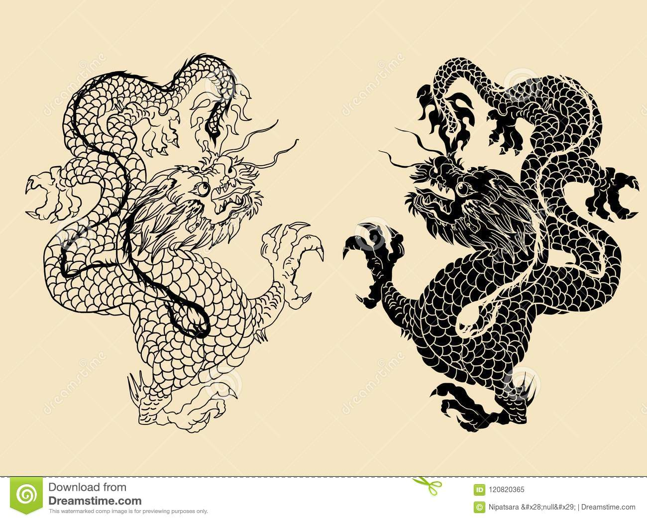 Dragon Isolate Vector,Chinese Dragon Tattoo Traditional