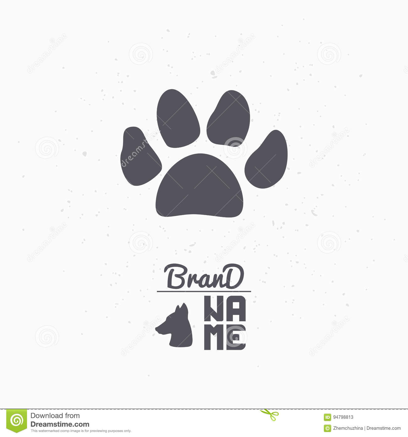 hand drawn silhouette of paw print. pet food logo template for, Powerpoint templates