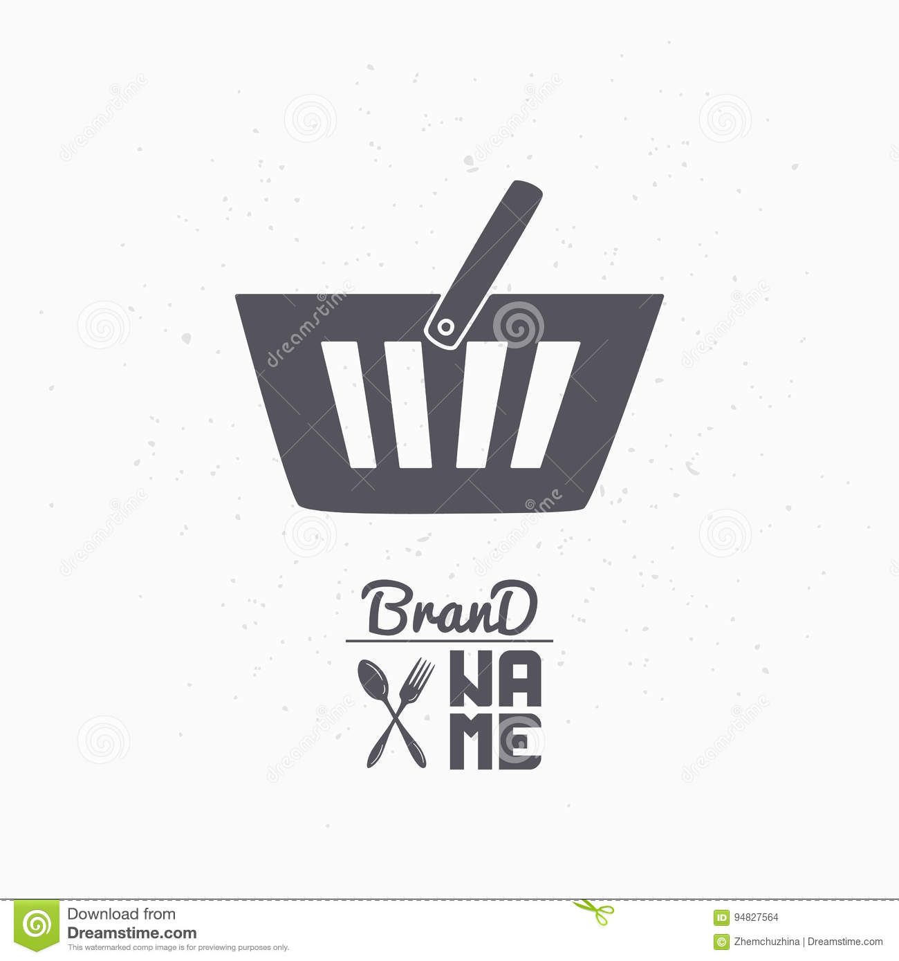 Download Hand Drawn Silhouette Of Shopping Cart Food Store Logo Template For Craft Packaging Or