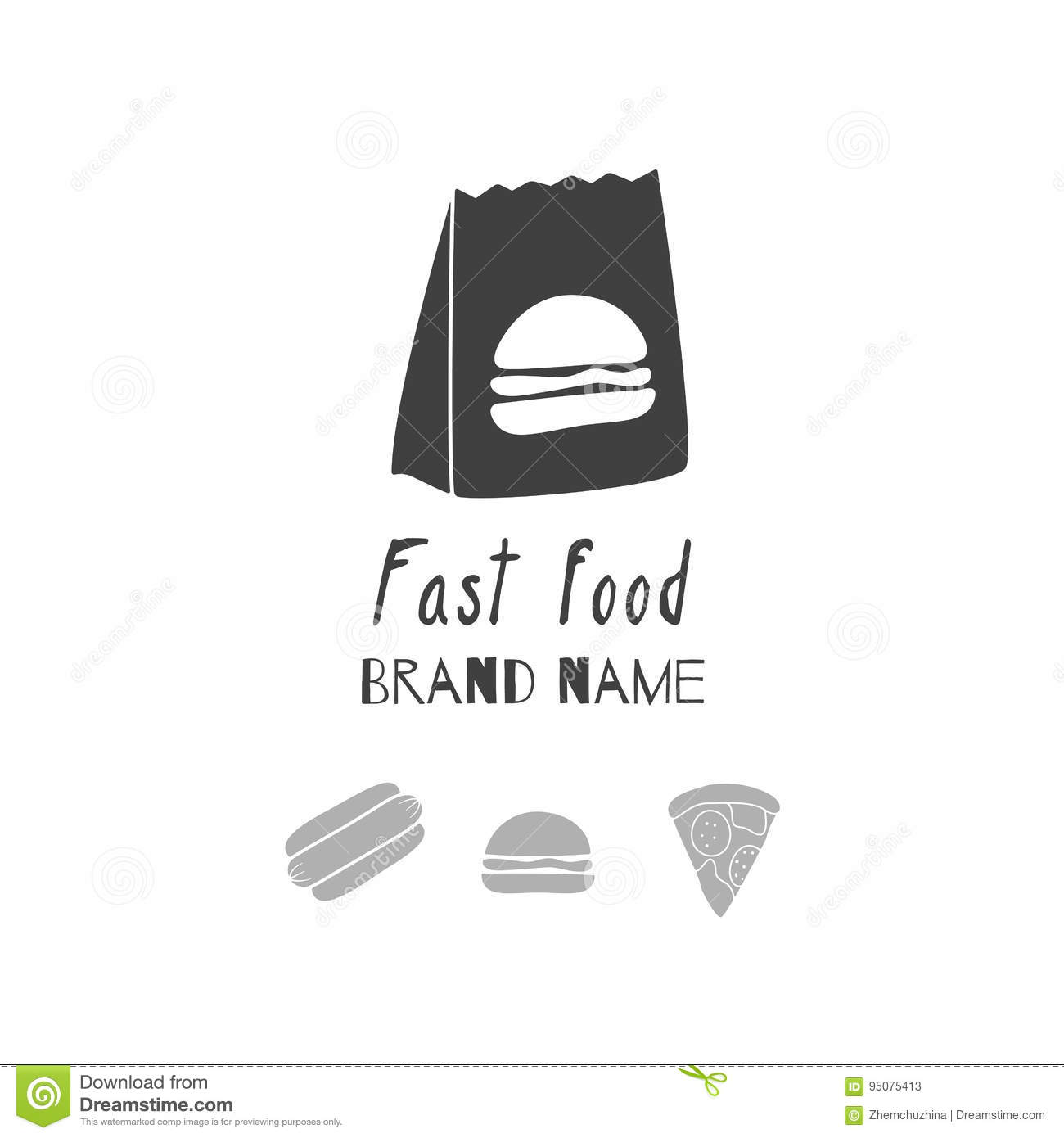 Hand Drawn Silhouettes. Fast Food Logo Templates For Craft Packaging ...