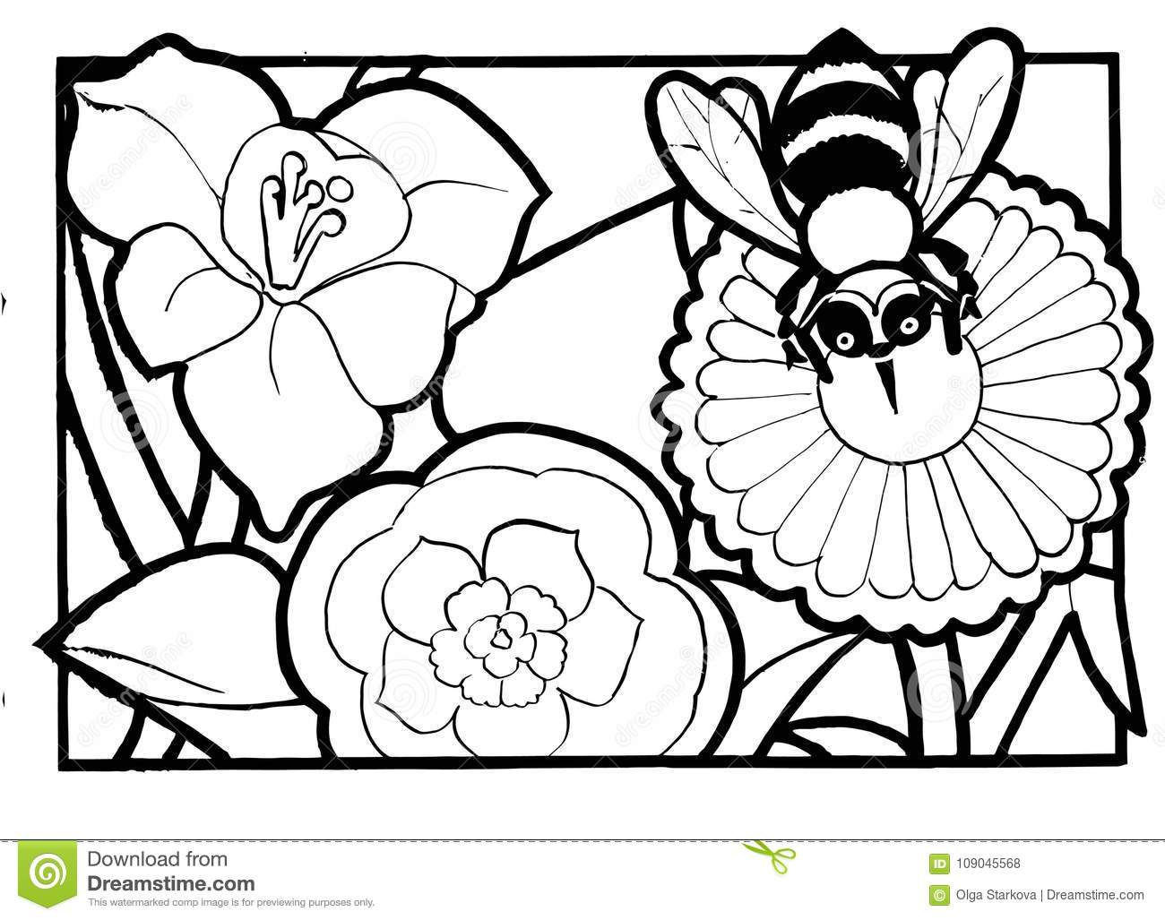 Bee And Flower, Coloring Page Stock Vector - Illustration of ...