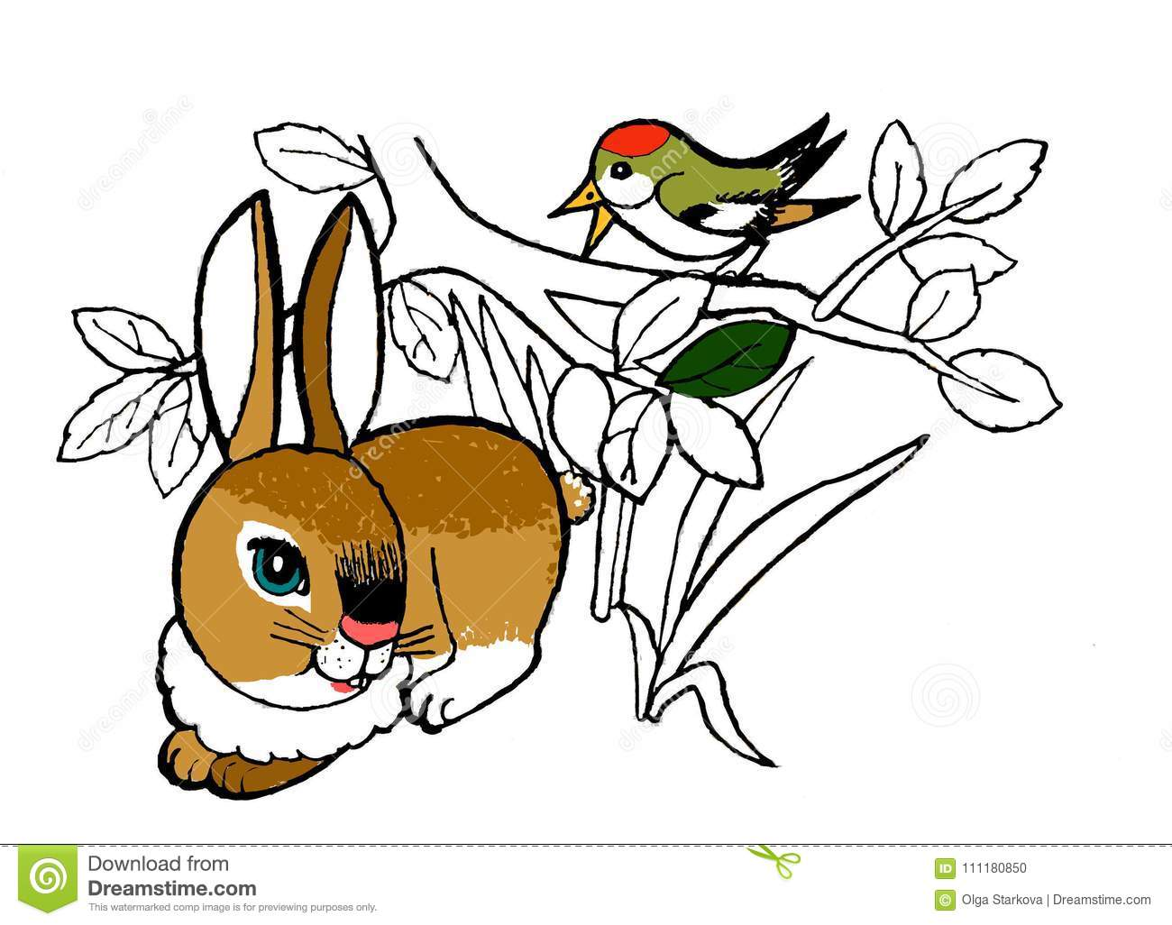 Rabbit, Coloring Page For The Children.Hand Drawn Sketch Of ...