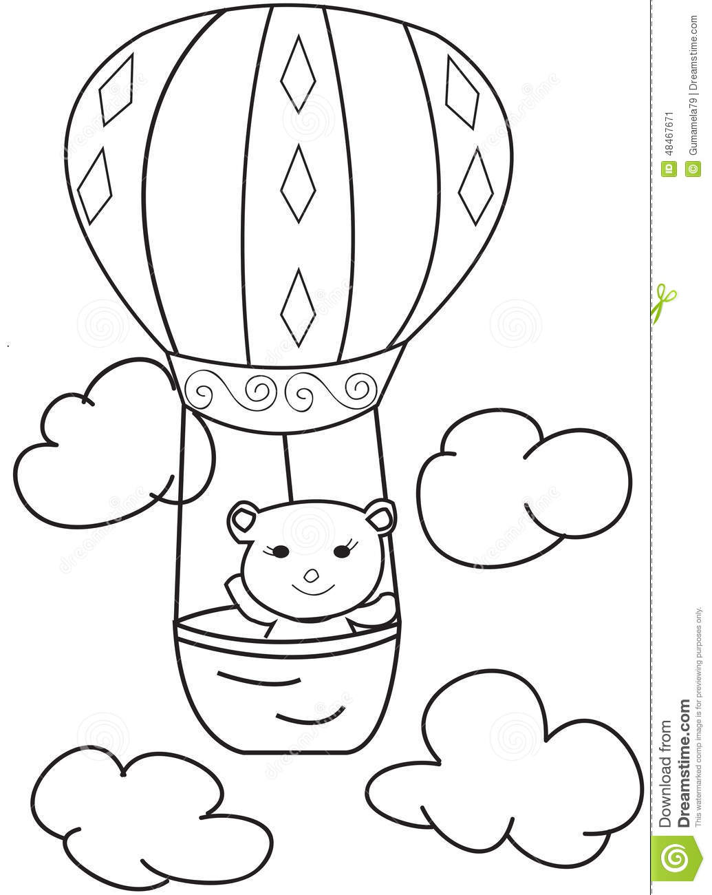 hand drawn sketch of a bear in a air balloon stock