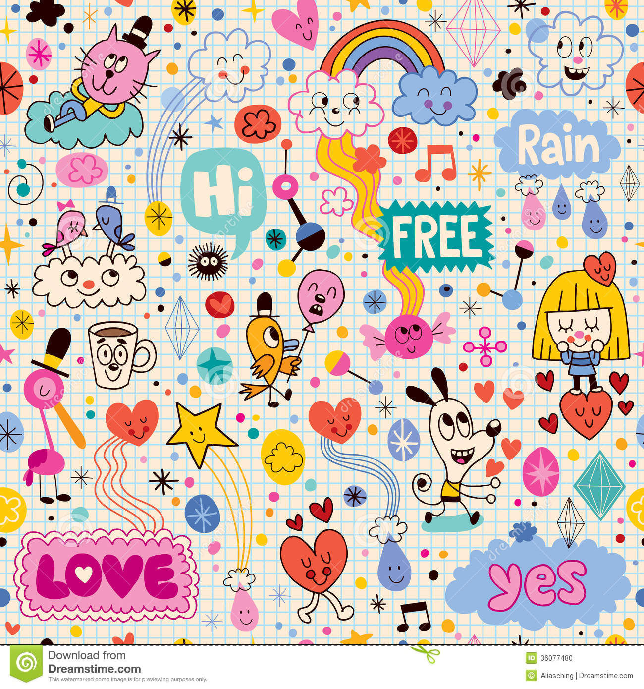 Hand drawn sketch book fun cartoon seamless pattern