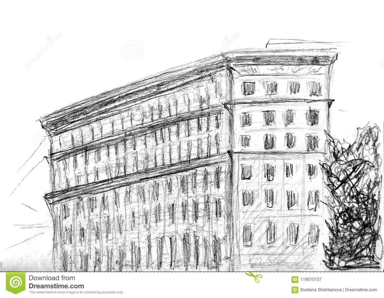 hand drawn sketch of building charcoal pencil technique