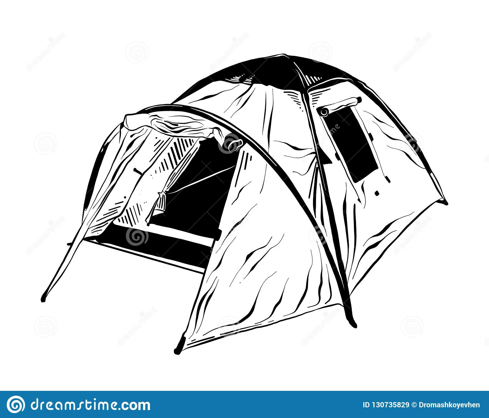 Hand drawn sketch of camping tent in black isolated on white background. Detailed vintage etching style drawing.