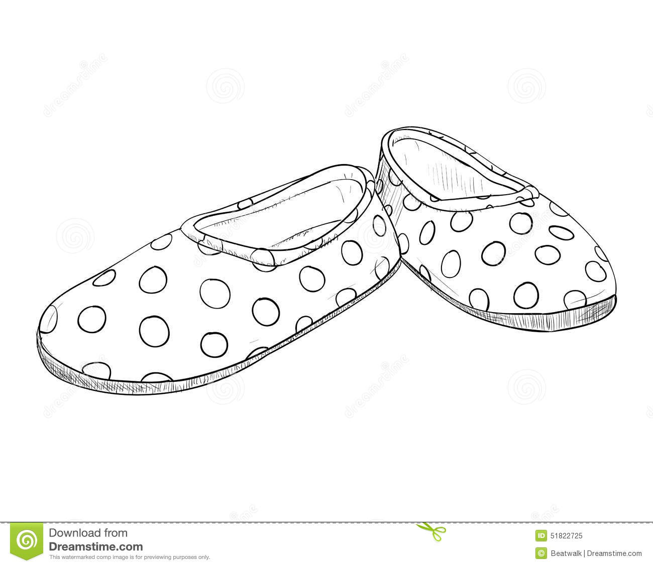 Hand Drawn Sketch With Children's Slippers Stock Vector