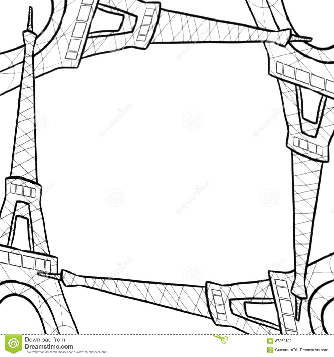 hand drawn sketch of eiffel tower border frame stock photography