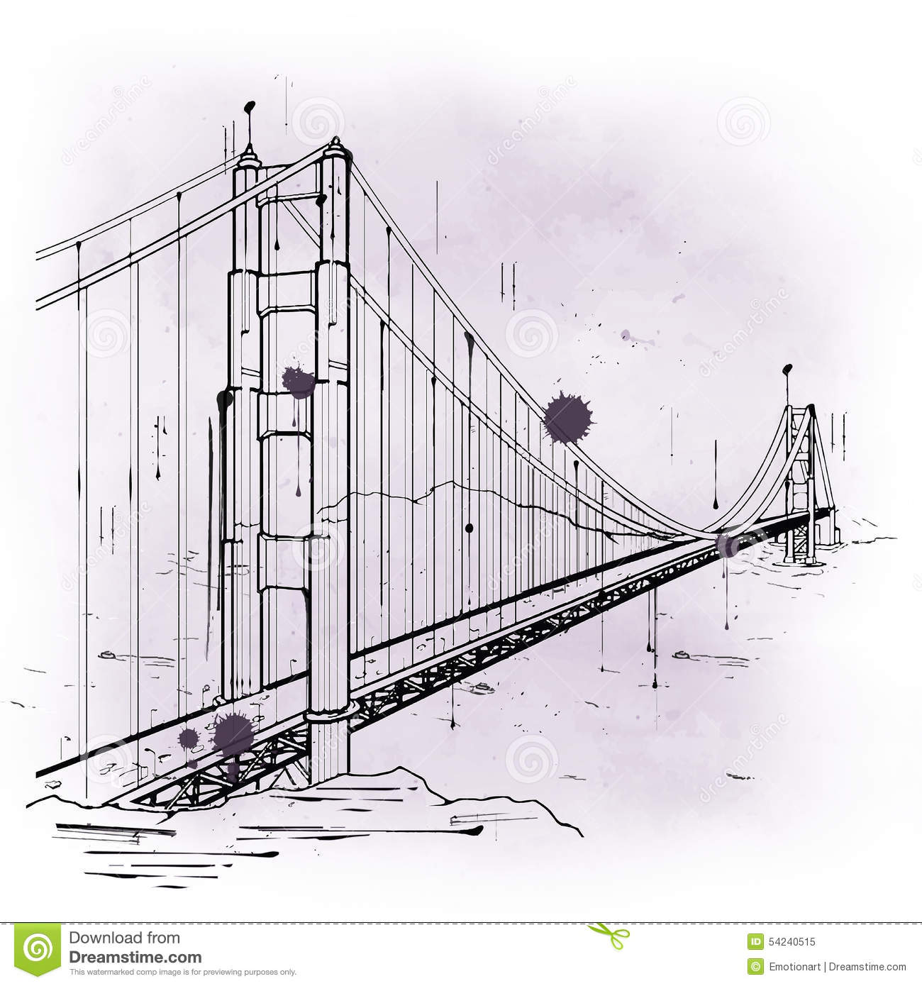 Hand Drawn Sketch Of The Golden Gate Bridge Stock