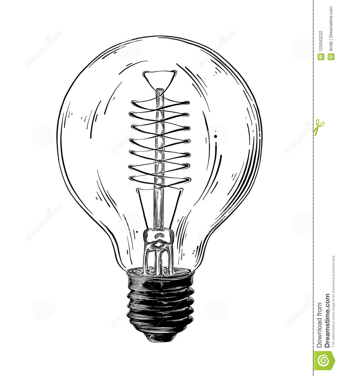 Hand Drawn Sketch Of Lightbulb In Black Isolated On White Background