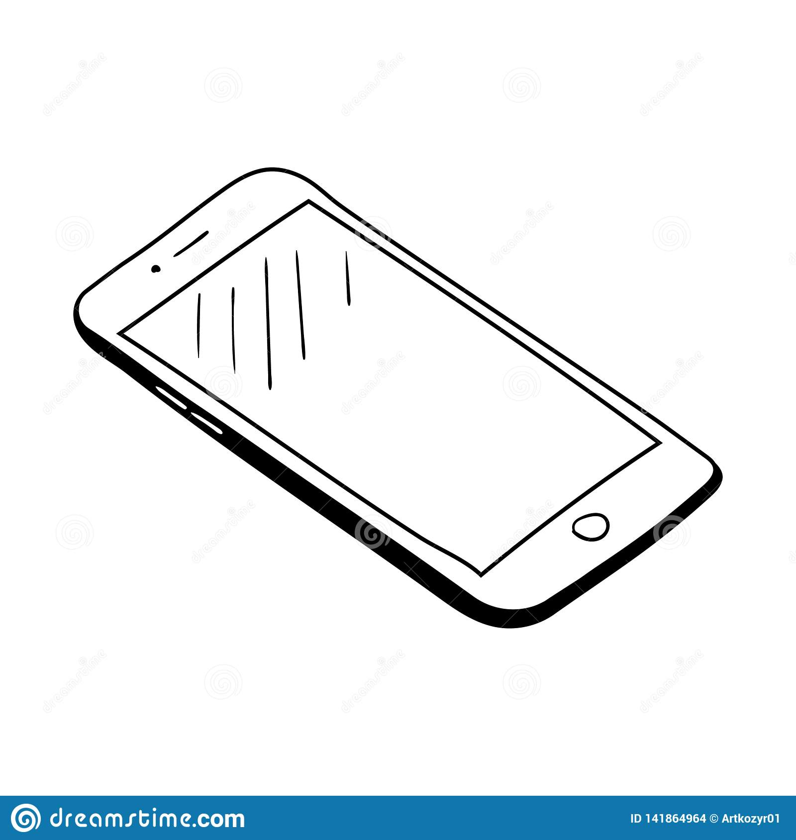 Hand Drawn Sketch Of Mobile Phone Stock Vector - Illustration of