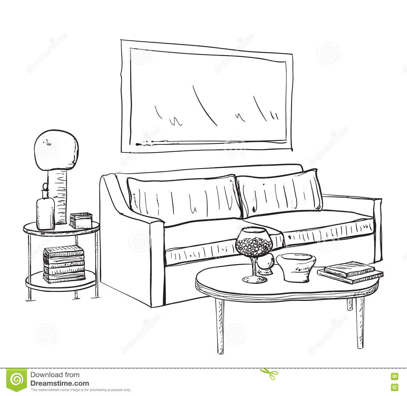 Hand Drawn Sketch Of Modern Living Room Interior Stock