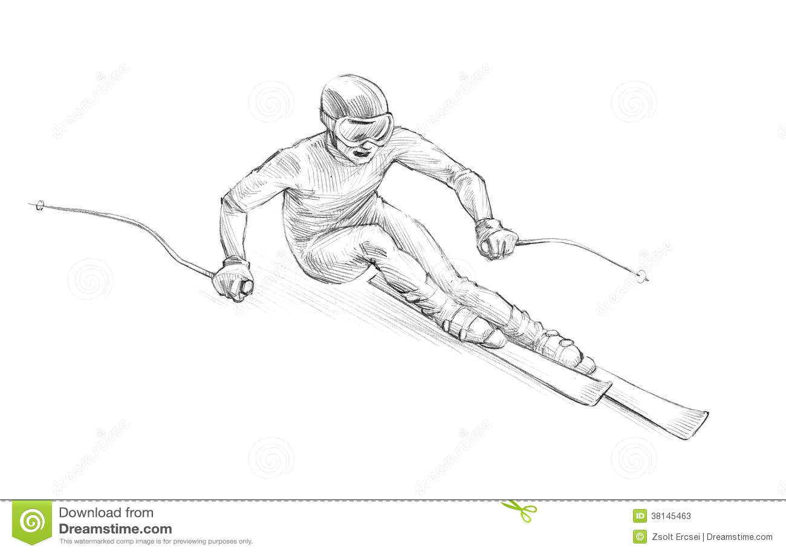 Hand-drawn Sketch, Pencil Illustration Of An Alpine Skier Speedi Stock ...