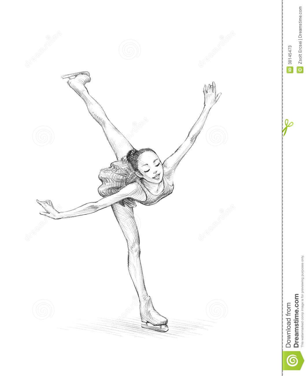 Hand-drawn Sketch, Pencil Illustration Of A Figure Skater Woman Stock ...