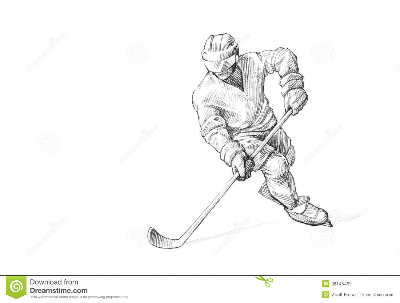 Hand-drawn Sketch, Pencil Illustration Of An Ice Hockey Player Royalty ...