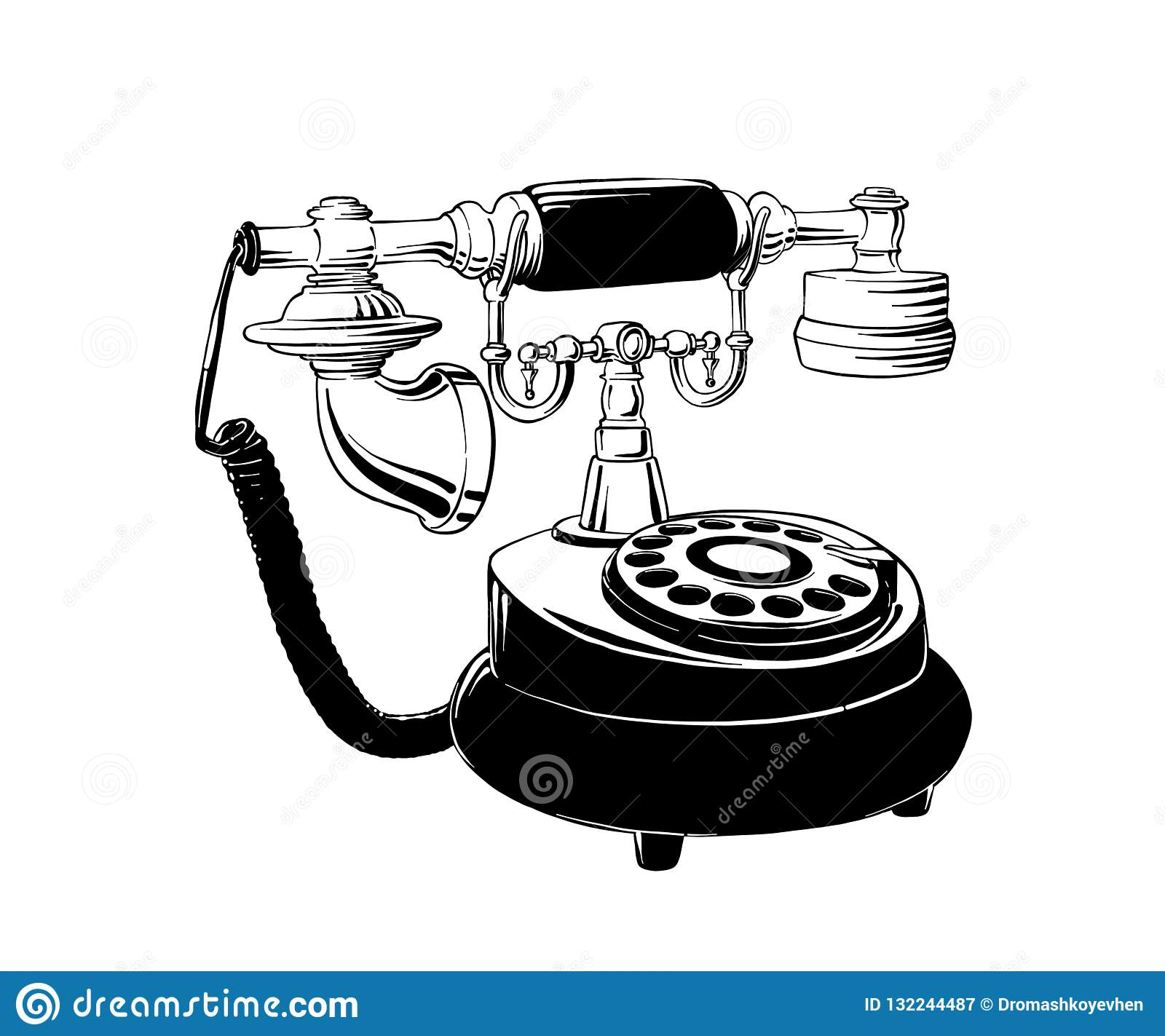 Hand drawn sketch of retro phone in black isolated on white background. Detailed vintage etching style drawing