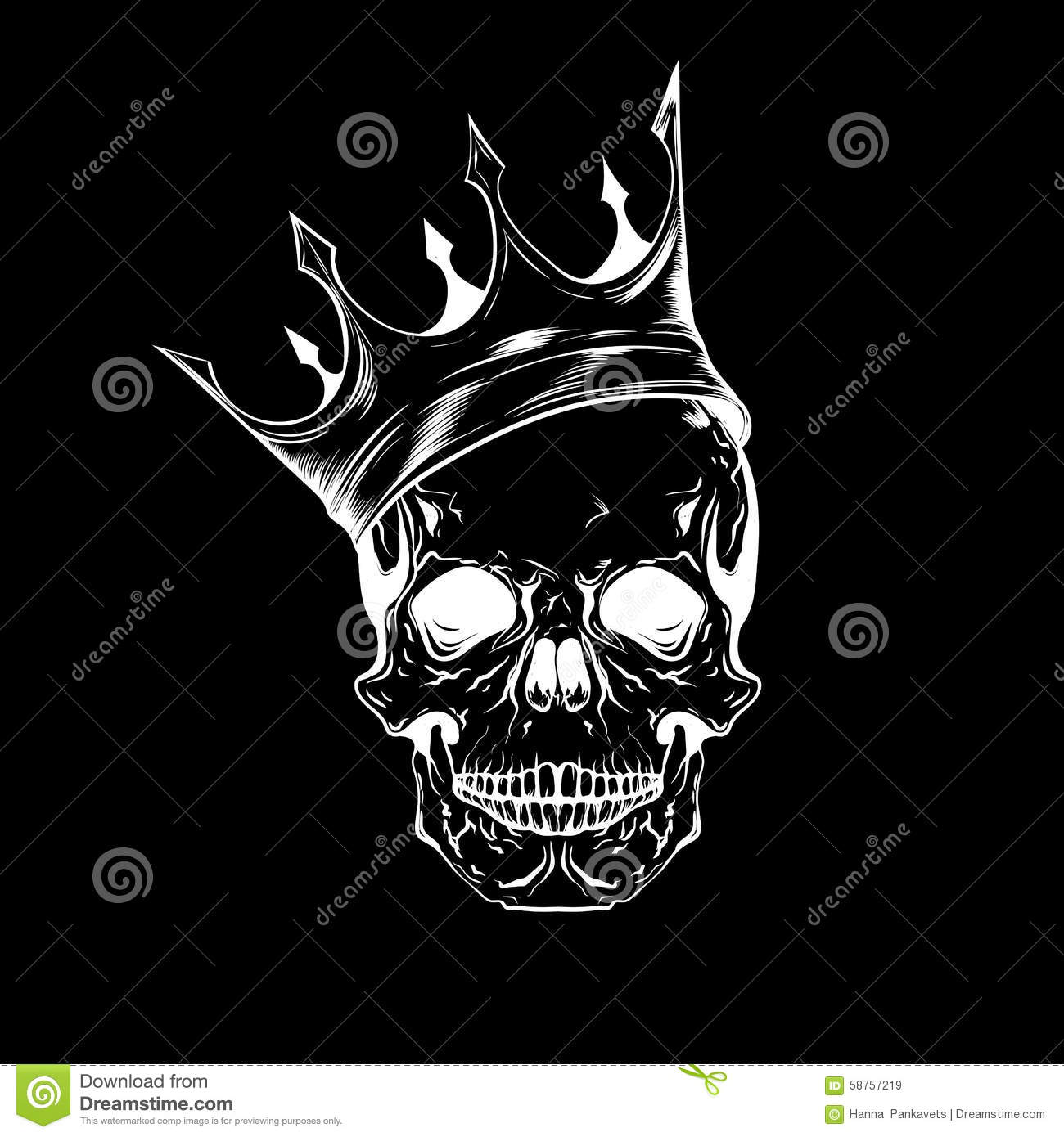 Crown Tattoo Line Drawing : Hand drawn sketch scull with crown tattoo line art