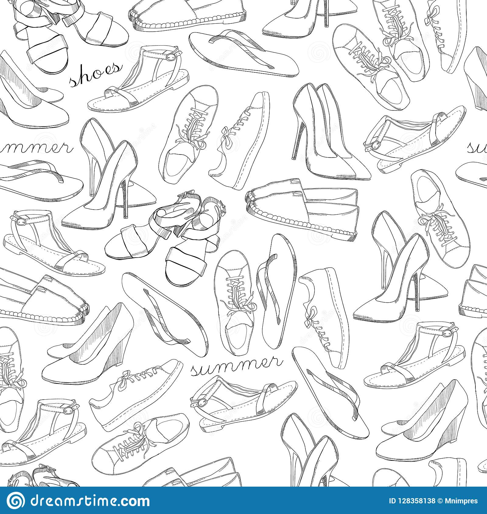 e1b28bc1a94ad Vector illustration of Hand drawn sketch seamless pattern of Shoes. Running  shoes sneakers